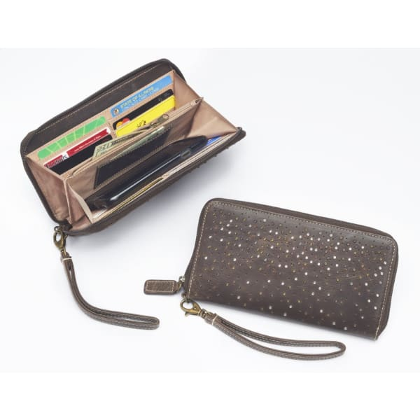 GTM Original Full sized Zip Around RFID protected Leather Wallet - NEW! - Hiding Hilda, LLC