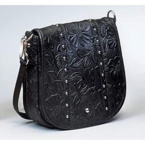 GTM Original Simple Bling Leather Tooled Concealed Carry Crossbody Pouch - Hiding Hilda, LLC