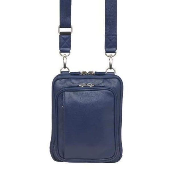 Indigo RFID lined Compact Leather Concealed Carry Crossbody Pouch - Hiding Hilda, LLC