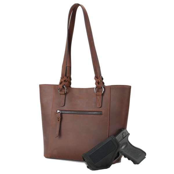 Lady Conceal New Maddie Lockable Leather Concealed Carry Tote - Hiding Hilda, LLC