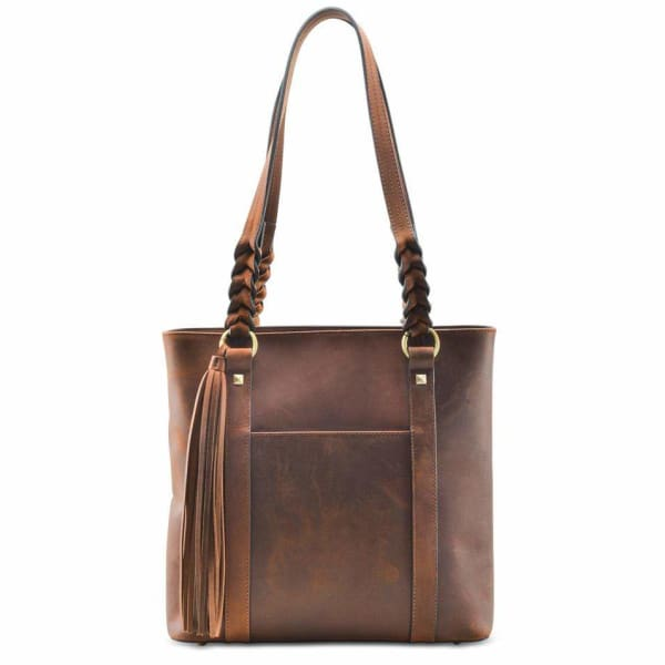 New Bella Leather Lockable Concealed Carry Shoulder Tote - Distressed Brown - Tote