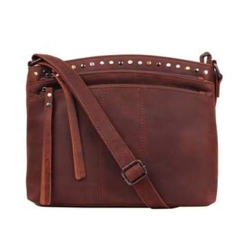 Brynn Arched Lockable Leather Concealed Carry Crossbody Purse by Lady Conceal - NEW! - Hiding Hilda, LLC