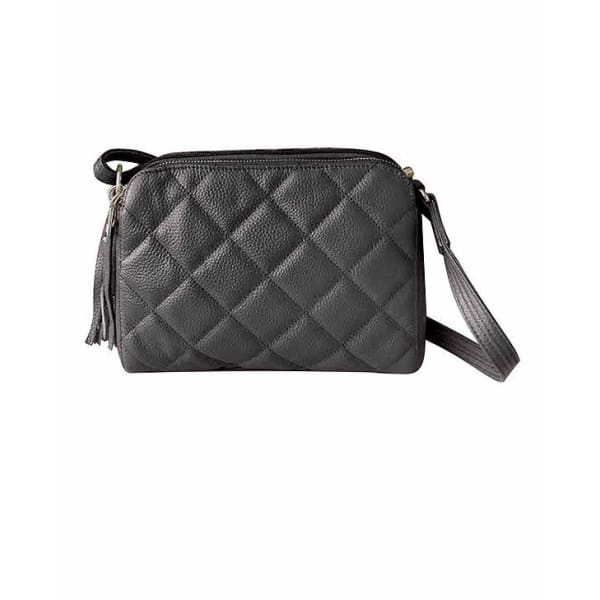 NEW Quilted Compact Cutie Concealed Carry Lockable Leather Crossbody Purse - Black - Crossbody