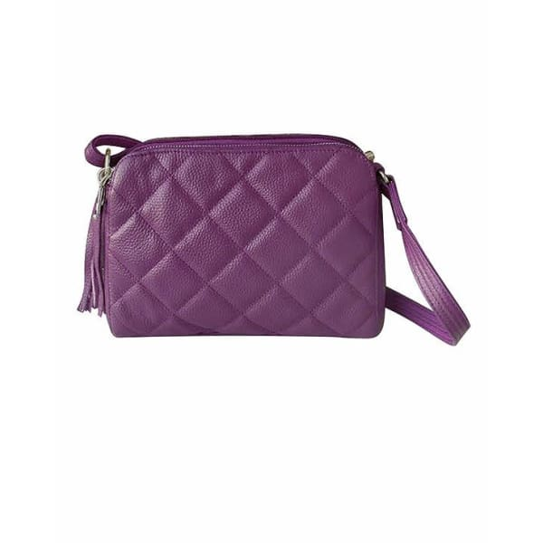 NEW Quilted Compact Cutie Concealed Carry Lockable Leather Crossbody Purse - Purple - Crossbody
