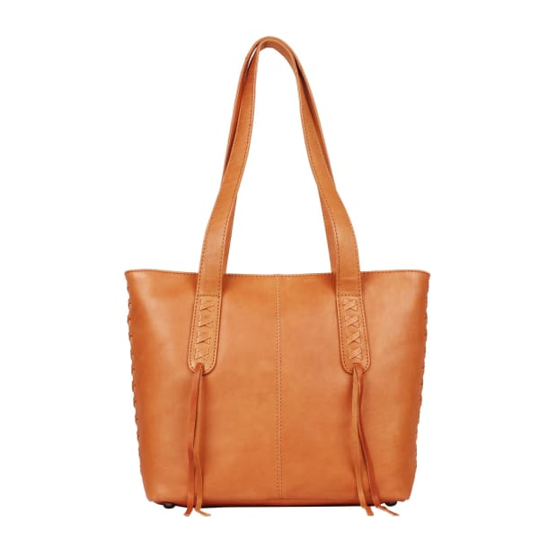 New Reagan Mid-Sized Laced Leather Conceal Carry Tote Handbag w/Lockable Zippers - Caramel - Tote