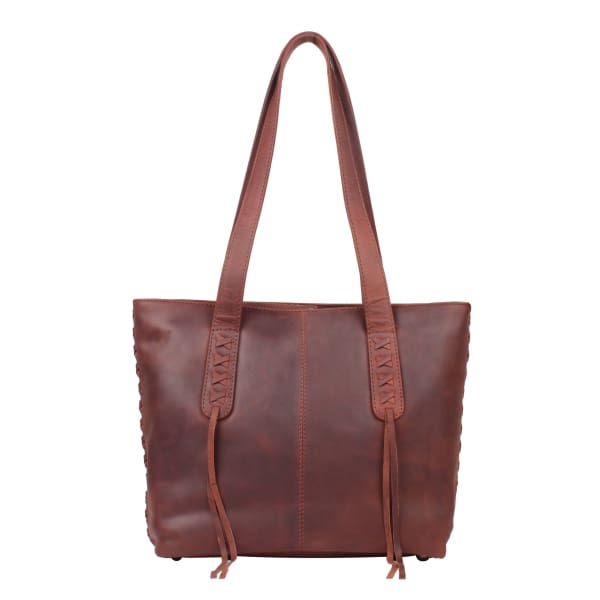 New Reagan Mid-Sized Laced Leather Conceal Carry Tote Handbag w/Lockable Zippers - Dark Mahogany - Tote