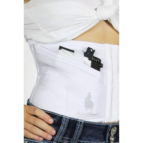 Petite White Conceal Carry Corset by Dene Adams - Hiding Hilda, LLC