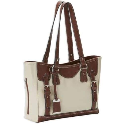 Stylish Medium Concealed Carry Sand and Stone Tote With Lockable Zippers - NEW - Hiding Hilda, LLC