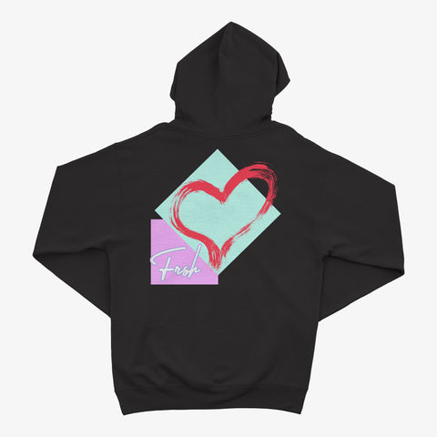 Heart & Shapes Black Hoodie