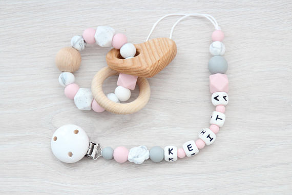 Zaza Baby Bee Personalized Pacifier Clip and Teething Ring 5 Unique Baby Shower Gifts