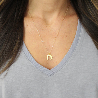 Hamsa Horseshoe Necklace