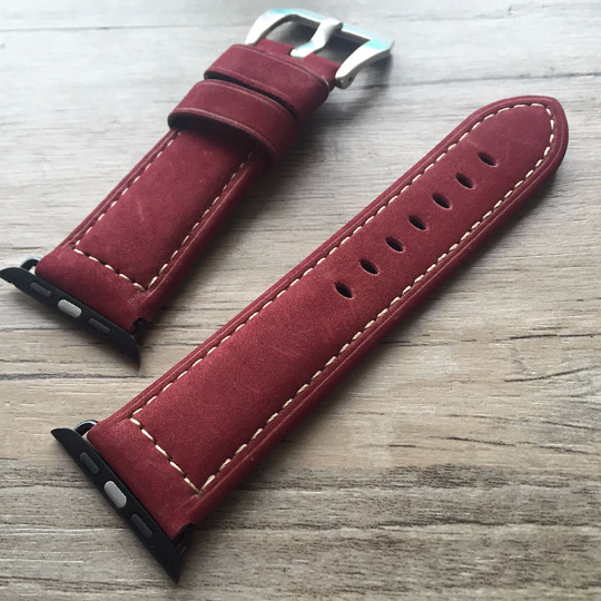 Tailor Handmade Real Cow Crazy Horse Scrub Leather Retro Wine Red Smart Apple iwatch 38 42 mm watch band Strap Steel Crave Clasp Made i watch iwatch applewatch apple band