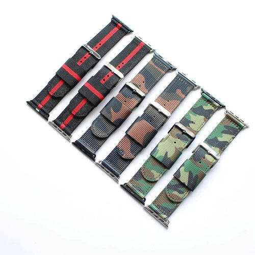 Handmade Smart Apple Watch Strap iwatch Stripe black red camo Strap  Nylon Nato Top band 38 42mm custo