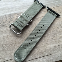 Handmade Smart Apple Watch Strap i applewatch  iwatch Green Gray Strap Black Nylon Nato Top  band 38 42mm custom made