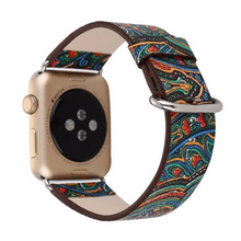 Handmade Smart Apple Watch Strap iwatch I Nation Strap Green red Blue Pattern Cow Leather Nylon Nato Watchband DW band 38 42mm custom Steel