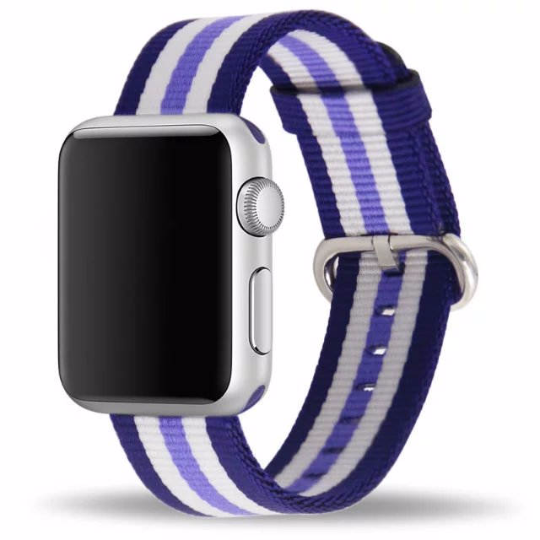 Handmade Smart Apple Watch Strap iwatch I Scottish Stripe Strap Purple Navy Nylon Nato Rolex Hamilton Panerai DW band 38 42mm custom made