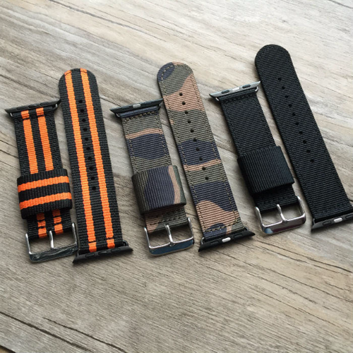 Handmade Smart Apple Watch Strap iwatch Stripe Camo Strap Black Nylon Nato Top IWC Timex Rolex Hamilton Panerai DW band 38 42mm custom made