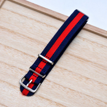 ON SALE Handmade Stripe Nylon Strap Nato Red Navy blue IWC Timex Rolex Hamilton Daniel Wellington DW strap watch band 16 18 20 22 mm custom made