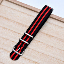 ON SALE Handmade Stripe Nylon Strap Nato Red black IWC Timex Rolex Hamilton Daniel Wellington DW strap watch band 16 18 20 22 mm custom made