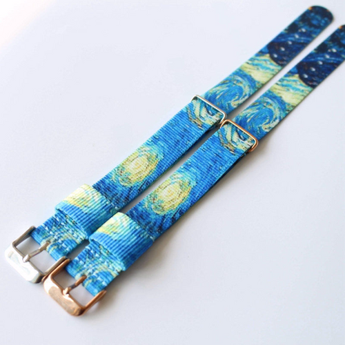 Handmade Van Gogh Starry Night Nylon Strap NATO Top IWC Timex Rolex Hamilton Daniel Wellington Panerai DW strap watch band 20mm custom made
