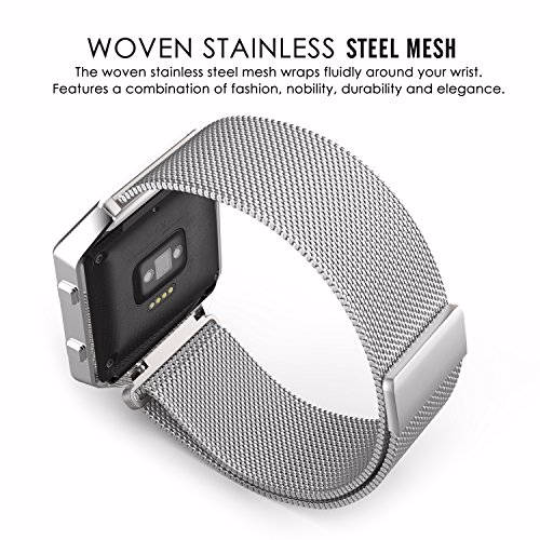 Metal Stainless steel 316L Handmade Smart Fitbit Blaze Watch Strap Silver White Color Clasp Milanese Loop Buckie SmartWatch custom Watchband