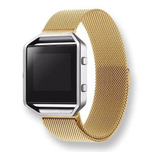 Metal Stainless steel 316L Handmade Smart Fitbit Blaze Watch Strap Yellow Gold Color Clasp Milanese Loop Buckie SmartWatch custom Watchband