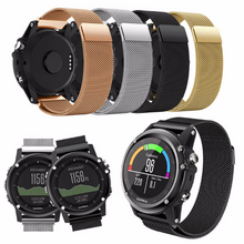 Metal Stainless steel 316L Handmade Smart garmin fenix 3 Watch Strap Rose Gold Black Clasp Milanese Loop Buckie SmartWatch custom Watchband