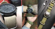 Nato Nylon Cotton Denim Green Handmade Smart Garmin fenix 3 Black Watch Strap and clasp Stainless steel Buckie SmartWatch custom Watchband 26 mm