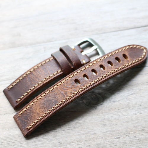 New Arrival Handmade Brown PaneraI Seiko Rolex Real Cow Leather Strap watch band custom made 20 22 24 26MM