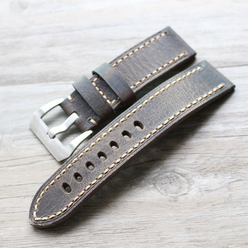 New Arrival Handmade Gray Black PaneraI Seiko Rolex Real Cow Leather Strap watch band custom made 20 22 24 26MM