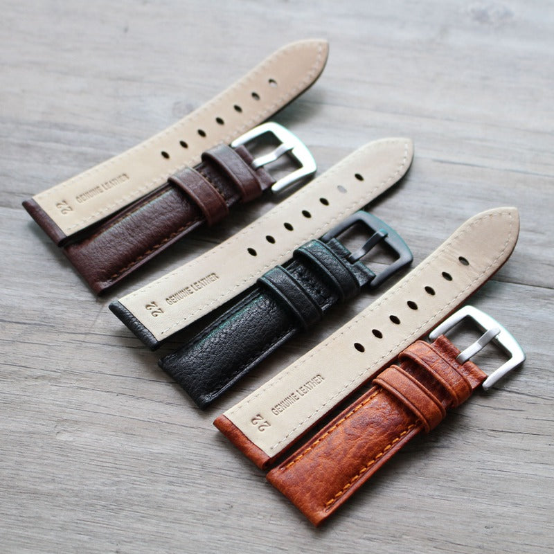 New Arrival Handmade PaneraI Seiko Rolex Real Cow Leather Strap watch band custom made 18MM 20MM 22MM 24MM