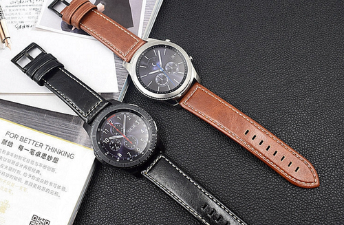 Real Classic Cow Leather Handmade Smart Samsung Gear s3 Moto360 Watch Strap Gold Strap SmartWatch band custom Watchband Bracelet