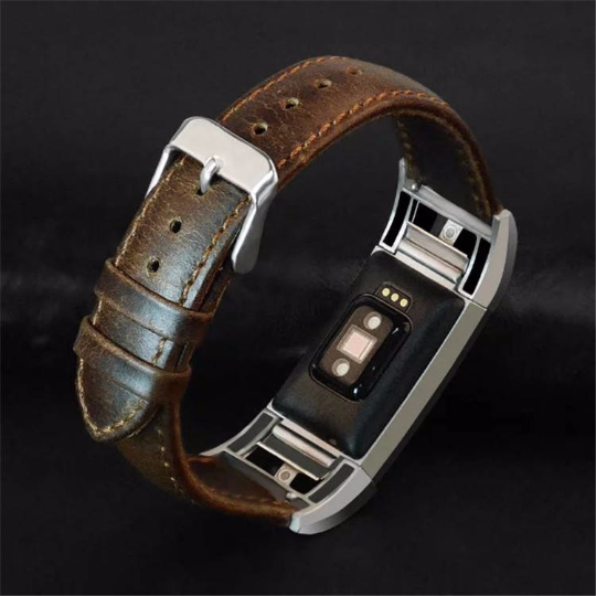 Real Cow Crazy Horse Scrub Leather Handmade Smart Fitbit Charge 2 brwon  Watch Strap Gift Magnetic SmartWatch band custom Watchband Fit Bit