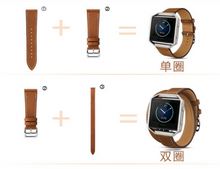 Real Cow Leather Handmade Smart Fitbit Blaze Watch Strap Pilot Style lake blue color colorful Buckie SmartWatch custom Watchband