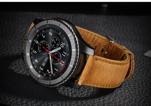 Real Cow Leather Khaki Brown Handmade Smart Samsung Gear s3 Moto360 Watch Strap  Gold Strap SmartWatch band custom Watchband Bracelet