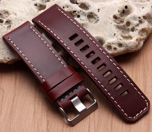 Real Cow Pattern Leather Handmade Smart garmin fenix 3 Red brown Watch Strap and clasp Stainless steel Buckie SmartWatch custom Watchband