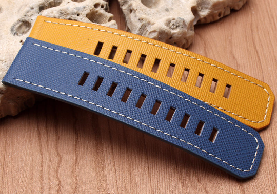 Real Cow Pattern Leather Handmade Smart garmin fenix 3 Yellow Navy Blue Watch Strap and clasp Stainless steel Buckie SmartWatch custom Watchband