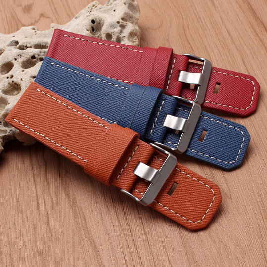 Real Cow Pattern Leather Handmade Smart garmin fenix 3 gray navy blue brown red Watch Strap and clasp Stainless steel Buckie SmartWatch custom Watchband