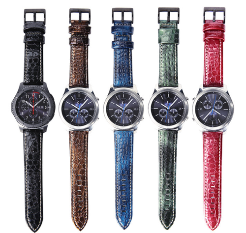 Real Crocodile pattern Cow Leather Handmade Colorful Smart Samsung Gear s3 Moto360 Watch Strap Gold Strap SmartWatch band custom Watchband Bracelet