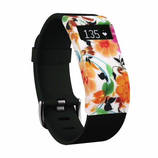 Silicone sports Handmade Smart Fitbit Charge Watch Strap orange green Flower Color colorfu cover covers case SmartWatch custom Watchband