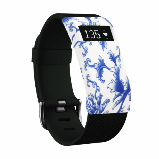 Silicone sports Handmade Smart Fitbit Charge Watch Strap white blue Flower Color colorfu cover covers case SmartWatch custom Watchband