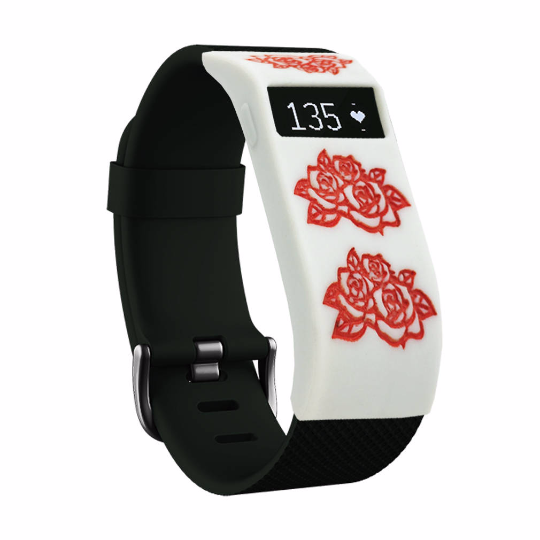 Silicone sports Handmade Smart Fitbit Charge Watch Strap white red flower Color colorfu cover covers case SmartWatch custom Watchband