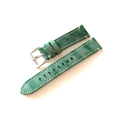 New Arrival Handmade Green Rolex Seiko Real Cow Leather Strap watch band custom made 18mm 20mm 22mm