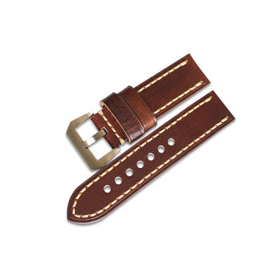 New Arrival Wood Brown Handmade Rolex Seiko Panerai Real Cow Leather Strap watch band custom made 20 22 24 26MM