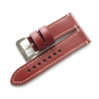 New Arrival Red Handmade Rolex Seiko Panerai Real Cow Leather Strap watch band custom made 18 19 20 21 22 23 24 26MM
