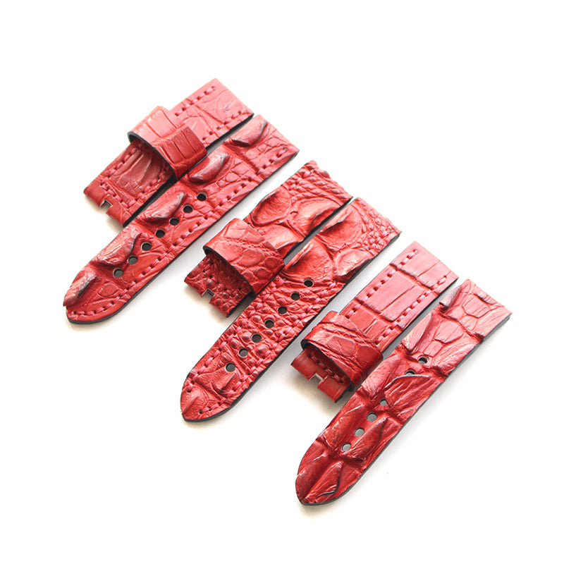 New Arrival Handmade Red Panerai Real Alligator Leather Strap watch band custom made 24MM