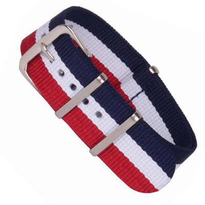 New Arrival Handmade Classic Red White Blue Nylon Leather Strap NATO IWC Rolex Seiko Hamilton Panerai  strap watch band custom made