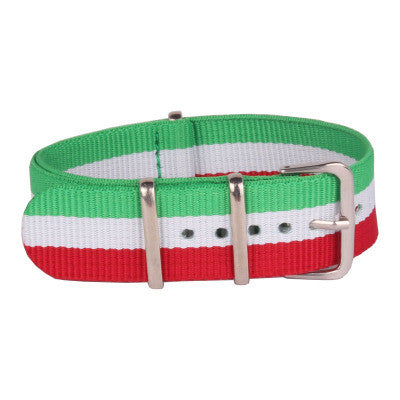 New Arrival Handmade Classic Red Green Nylon Leather Strap NATO  Omega IWC Rolex Seiko Hamilton Panerai  strap watch band custom made