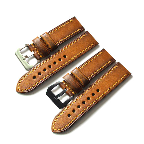 New Arrival Handmade Panerai Seiko Rolex Real Cow Leather Strap watch band custom made 20 22 24 26 mm