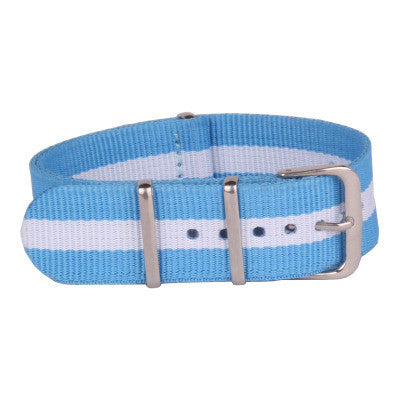New Arrival Handmade Classic Sky Blue Nylon Leather Strap NATO  Omega IWC Rolex Seiko Hamilton Panerai  strap watch band custom made